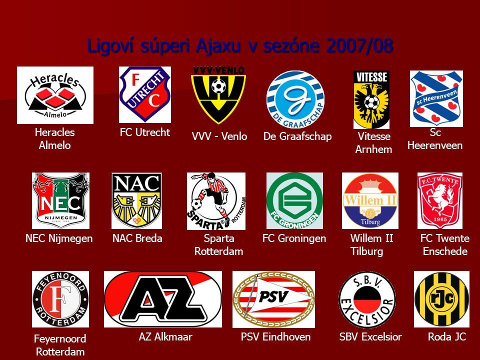 Ligoví súperi Ajaxu v sezóne 2007/08 AZ Alkmaar Feyernoord Rotterdam PSV EindhovenSBV ExcelsiorRoda JC NEC NijmegenNAC BredaSparta Rotterdam FC GroningenWillem II Tilburg FC Twente Enschede Sc Heerenveen Vitesse Arnhem De GraafschapVVV - Venlo FC UtrechtHeracles Almelo
