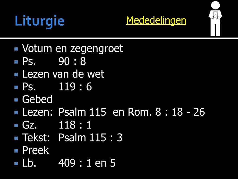Mededelingen  Votum en zegengroet  Ps.90 : 8  Lezen van de wet  Ps.119 : 6  Gebed  Lezen:Psalm 115 en Rom. 8 : 18 - 26  Gz.118 : 1  Tekst:Psal