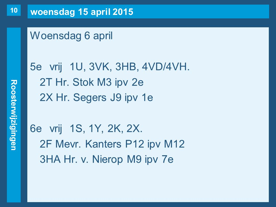 woensdag 15 april 2015 Roosterwijzigingen Woensdag 6 april 5evrij1U, 3VK, 3HB, 4VD/4VH.