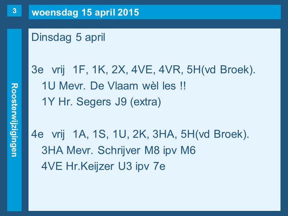woensdag 15 april 2015 Roosterwijzigingen Dinsdag 5 april 3evrij1F, 1K, 2X, 4VE, 4VR, 5H(vd Broek).