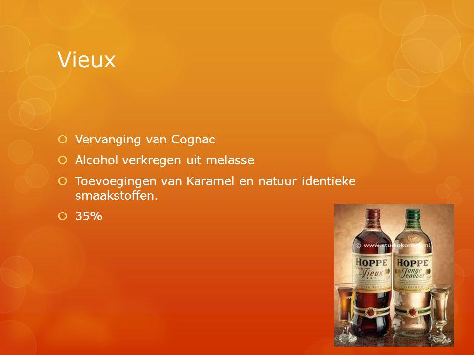 Vieux  Vervanging van Cognac  Alcohol verkregen uit melasse  Toevoegingen van Karamel en natuur identieke smaakstoffen.  35%