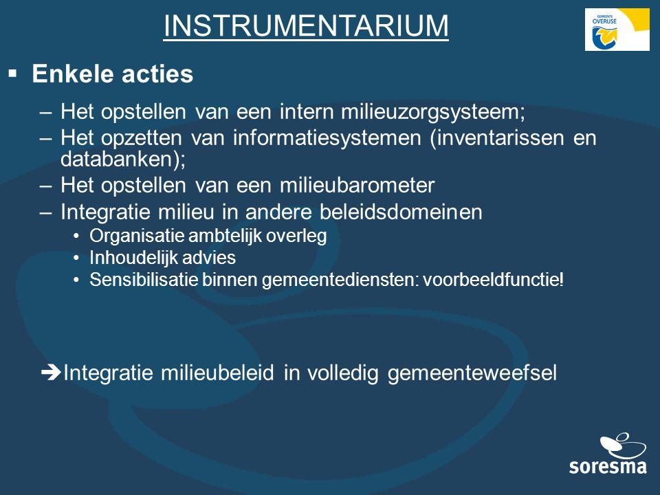 INSTRUMENTARIUM  Enkele acties –Het opstellen van een intern milieuzorgsysteem; –Het opzetten van informatiesystemen (inventarissen en databanken); –