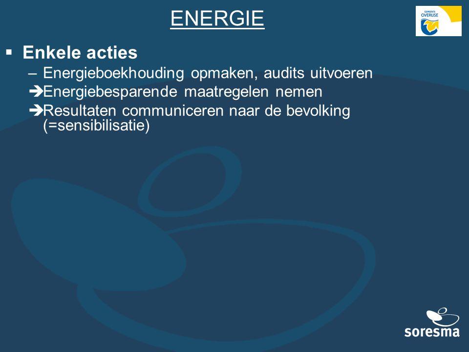 ENERGIE  Enkele acties –Energieboekhouding opmaken, audits uitvoeren  Energiebesparende maatregelen nemen  Resultaten communiceren naar de bevolkin