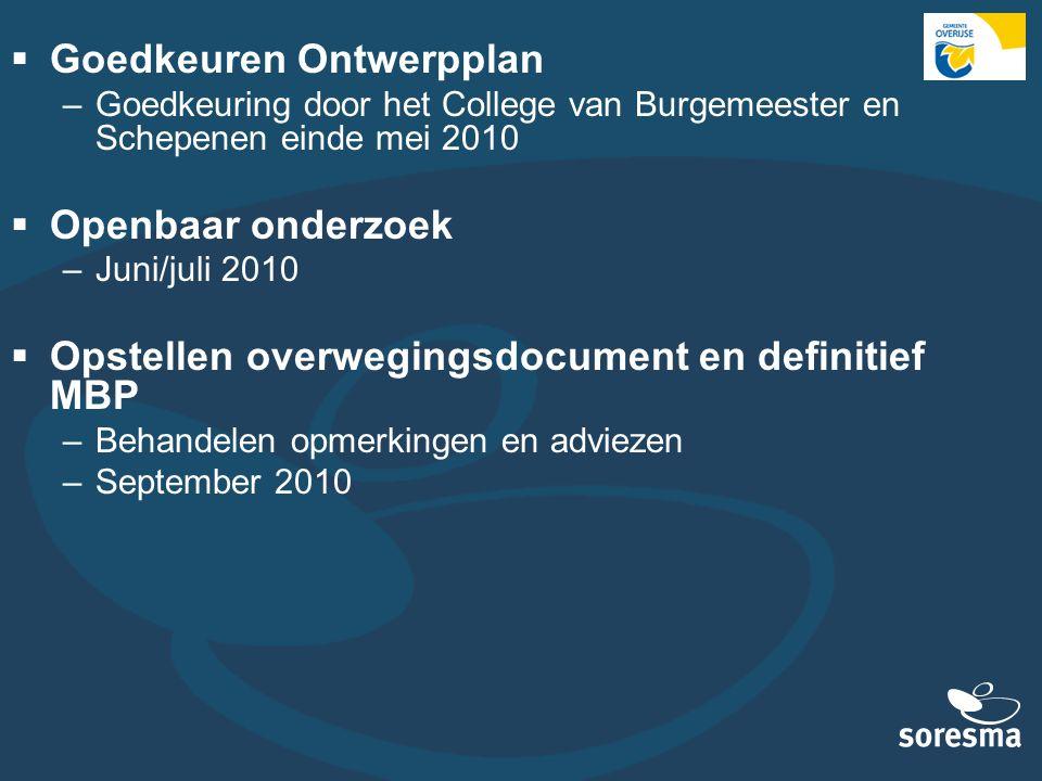  Goedkeuren Ontwerpplan –Goedkeuring door het College van Burgemeester en Schepenen einde mei 2010  Openbaar onderzoek –Juni/juli 2010  Opstellen o