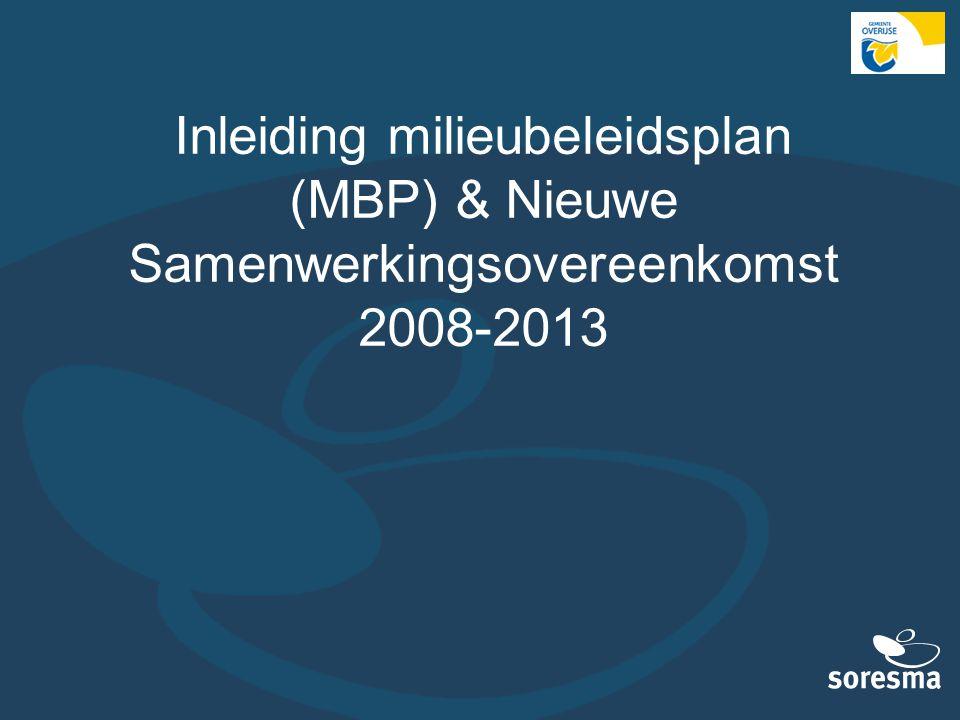 Inleiding milieubeleidsplan (MBP) & Nieuwe Samenwerkingsovereenkomst 2008-2013