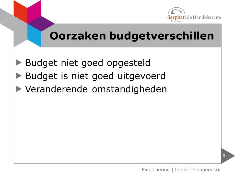 Budget niet goed opgesteld Budget is niet goed uitgevoerd Veranderende omstandigheden 5 Financiering | Logistiek supervisor Oorzaken budgetverschillen