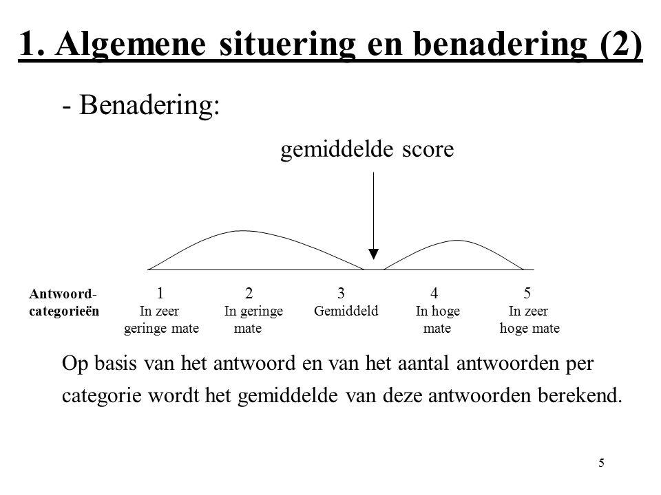 5 1. Algemene situering en benadering (2) - Benadering: Op basis van het antwoord en van het aantal antwoorden per categorie wordt het gemiddelde van