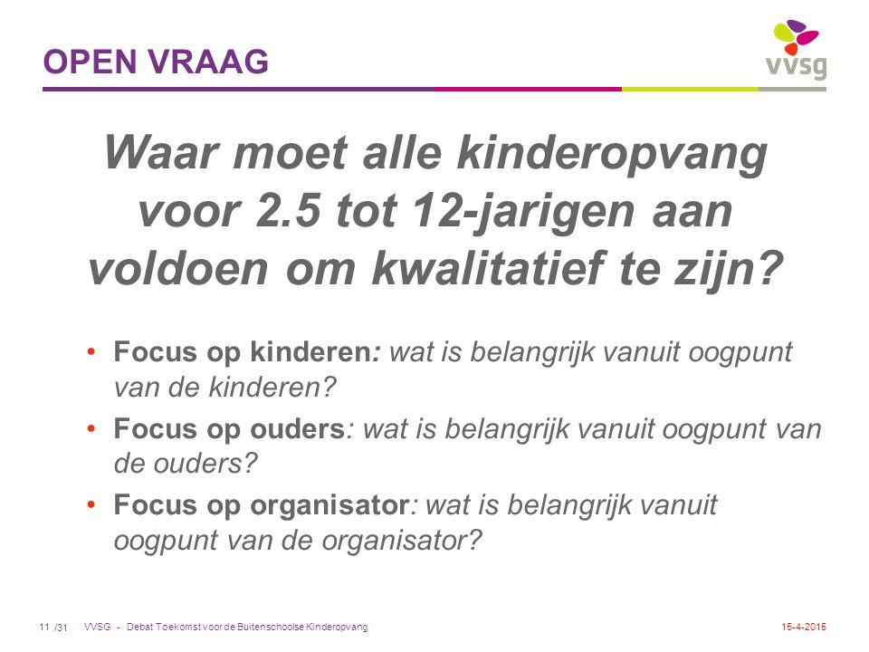 /31 VVSG - OPEN VRAAG Waar moet alle kinderopvang voor 2.5 tot 12-jarigen aan voldoen om kwalitatief te zijn? Focus op kinderen: wat is belangrijk van