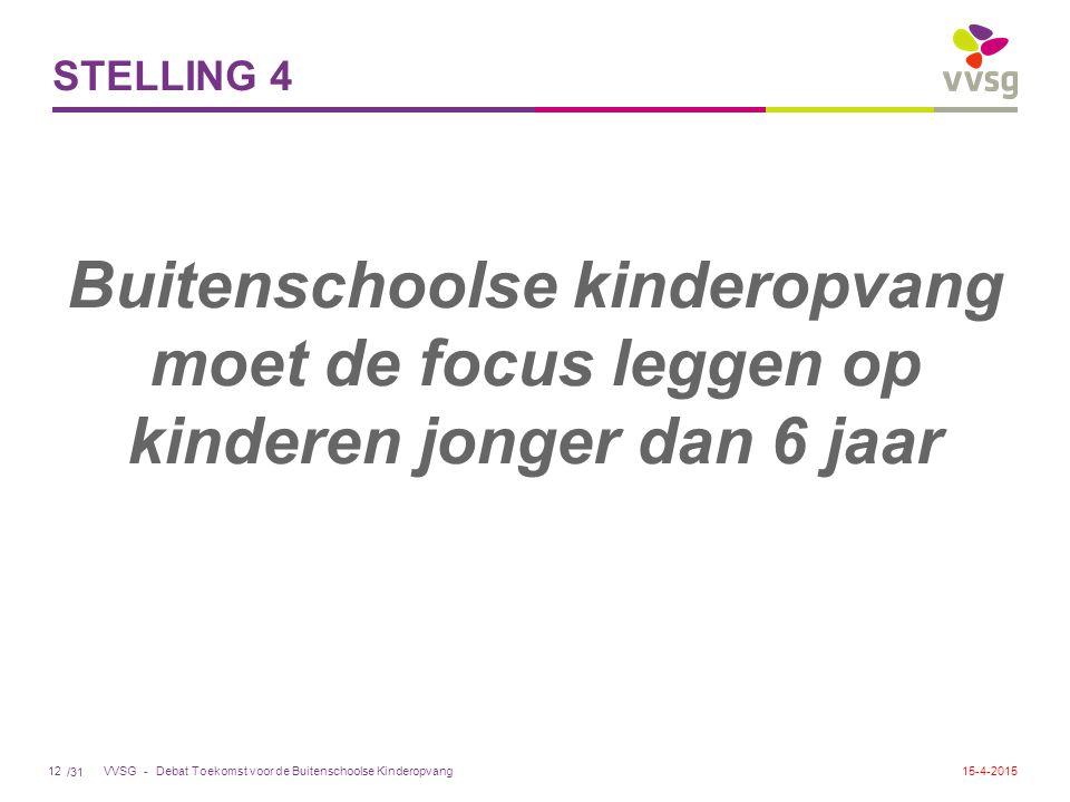 /31 VVSG - STELLING 4 Buitenschoolse kinderopvang moet de focus leggen op kinderen jonger dan 6 jaar Debat Toekomst voor de Buitenschoolse Kinderopvang1215-4-2015