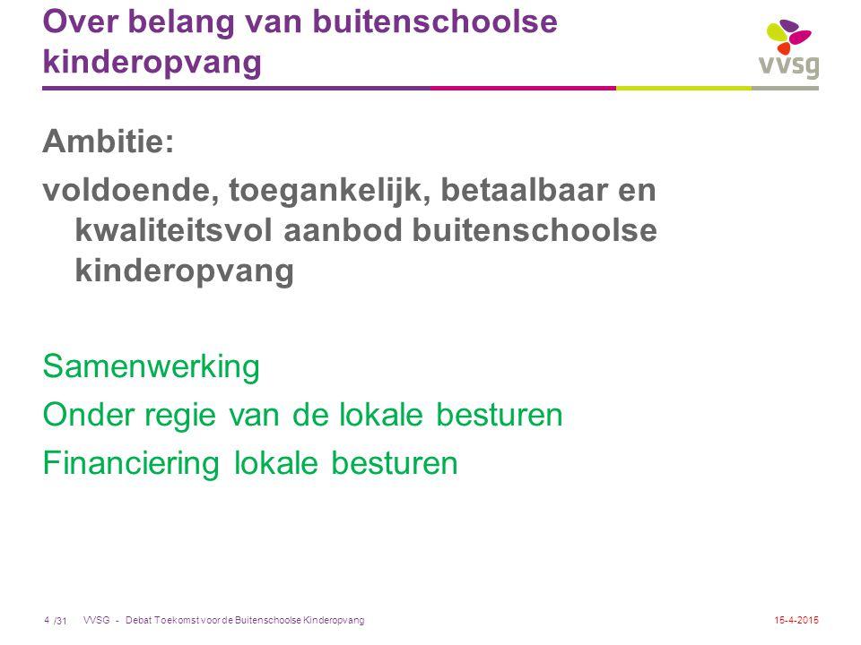 /31 VVSG - Over belang van buitenschoolse kinderopvang Ambitie: voldoende, toegankelijk, betaalbaar en kwaliteitsvol aanbod buitenschoolse kinderopvan
