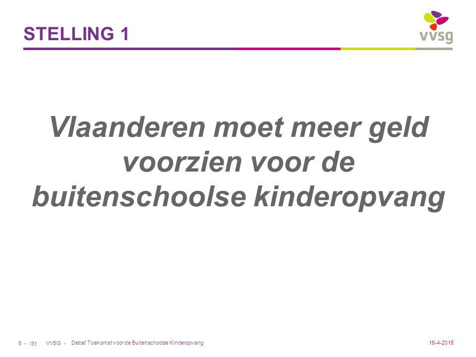 /31 VVSG - STELLING 1 Vlaanderen moet meer geld voorzien voor de buitenschoolse kinderopvang Debat Toekomst voor de Buitenschoolse Kinderopvang 8 - 15