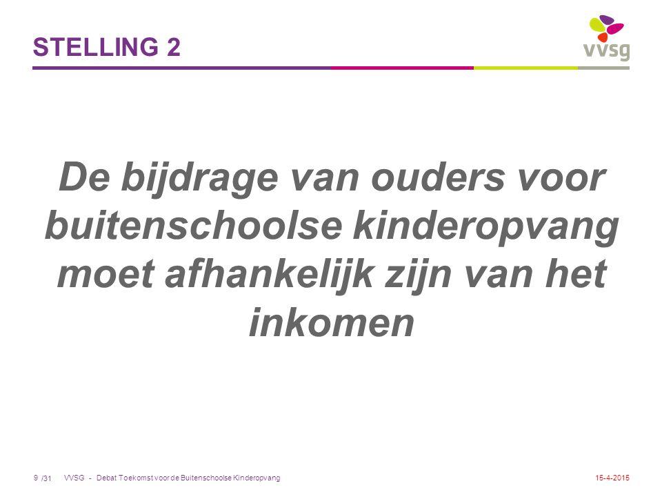 /31 VVSG - STELLING 2 De bijdrage van ouders voor buitenschoolse kinderopvang moet afhankelijk zijn van het inkomen Debat Toekomst voor de Buitenschoolse Kinderopvang915-4-2015