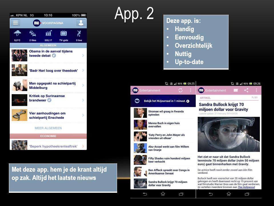 App. 2 Deze app. is: Handig Eenvoudig Overzichtelijk Nuttig Up-to-date Met deze app.