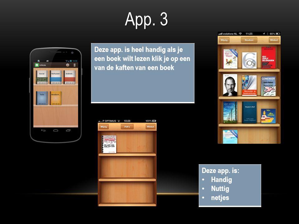 Deze app. is heel handig als je een boek wilt lezen klik je op een van de kaften van een boek App.