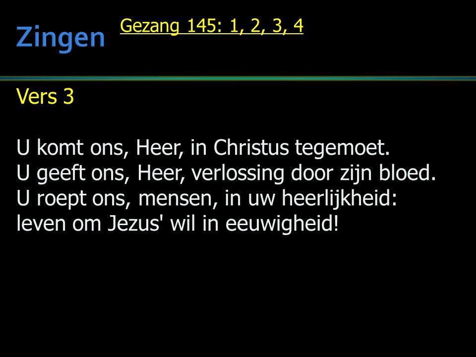 Vers 3 U komt ons, Heer, in Christus tegemoet. U geeft ons, Heer, verlossing door zijn bloed. U roept ons, mensen, in uw heerlijkheid: leven om Jezus'