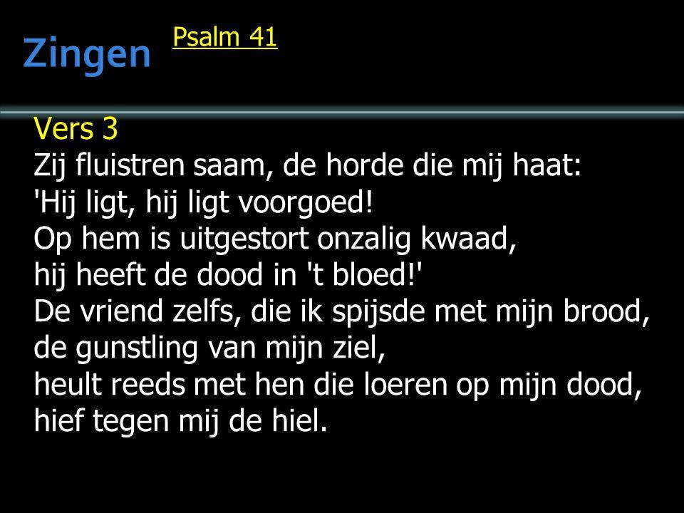 Psalm 41 Vers 3 Zij fluistren saam, de horde die mij haat: Hij ligt, hij ligt voorgoed.