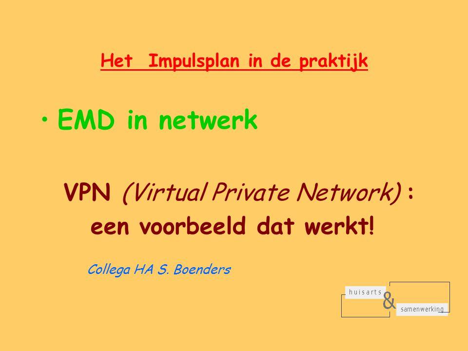 Het Impulsplan in de praktijk EMD in netwerk VPN (Virtual Private Network) : een voorbeeld dat werkt.