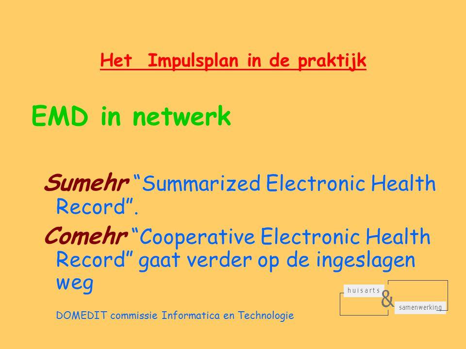 Het Impulsplan in de praktijk EMD in netwerk Sumehr Summarized Electronic Health Record .