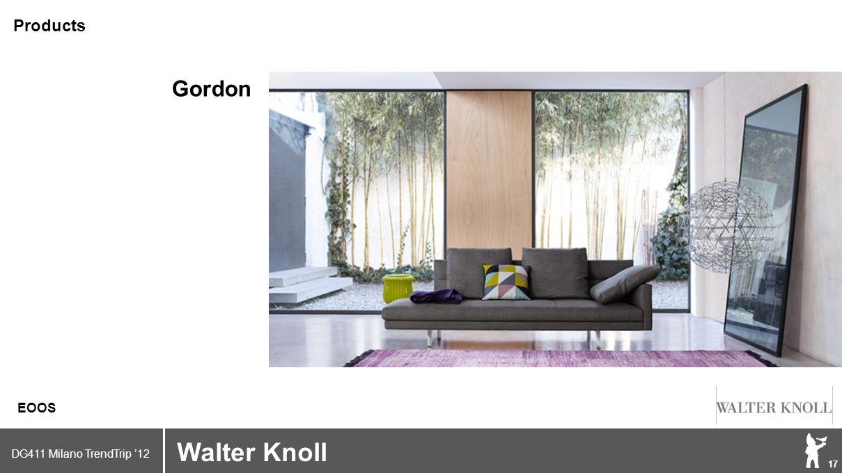 DG411 Milano TrendTrip '12 Klik om het opmaakprofiel te bewerken 17 Brand logo (name) Walter Knoll EOOS Products Gordon
