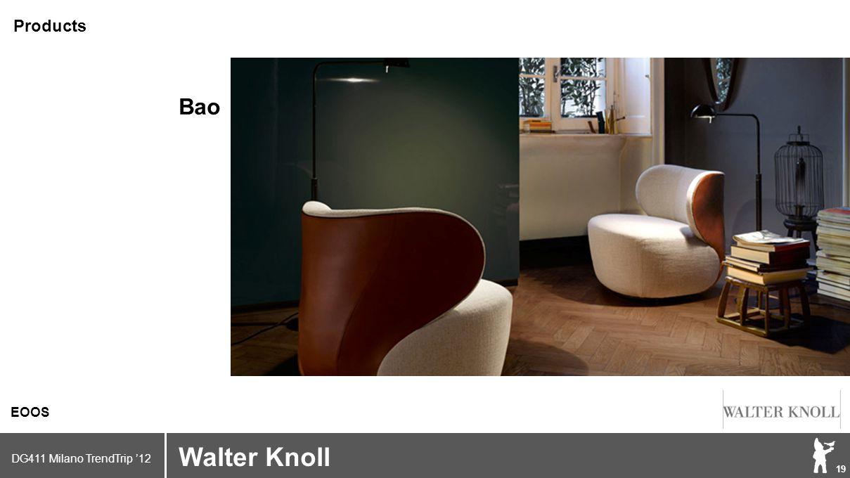 DG411 Milano TrendTrip '12 Klik om het opmaakprofiel te bewerken 19 Brand logo (name) Walter Knoll EOOS Products Bao