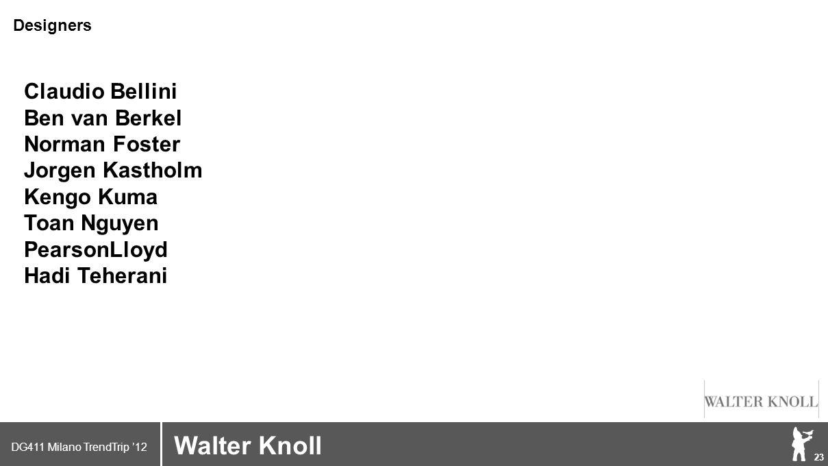 DG411 Milano TrendTrip '12 Klik om het opmaakprofiel te bewerken 23 Brand logo (name) Walter Knoll Designers Claudio Bellini Ben van Berkel Norman Foster Jorgen Kastholm Kengo Kuma Toan Nguyen PearsonLloyd Hadi Teherani