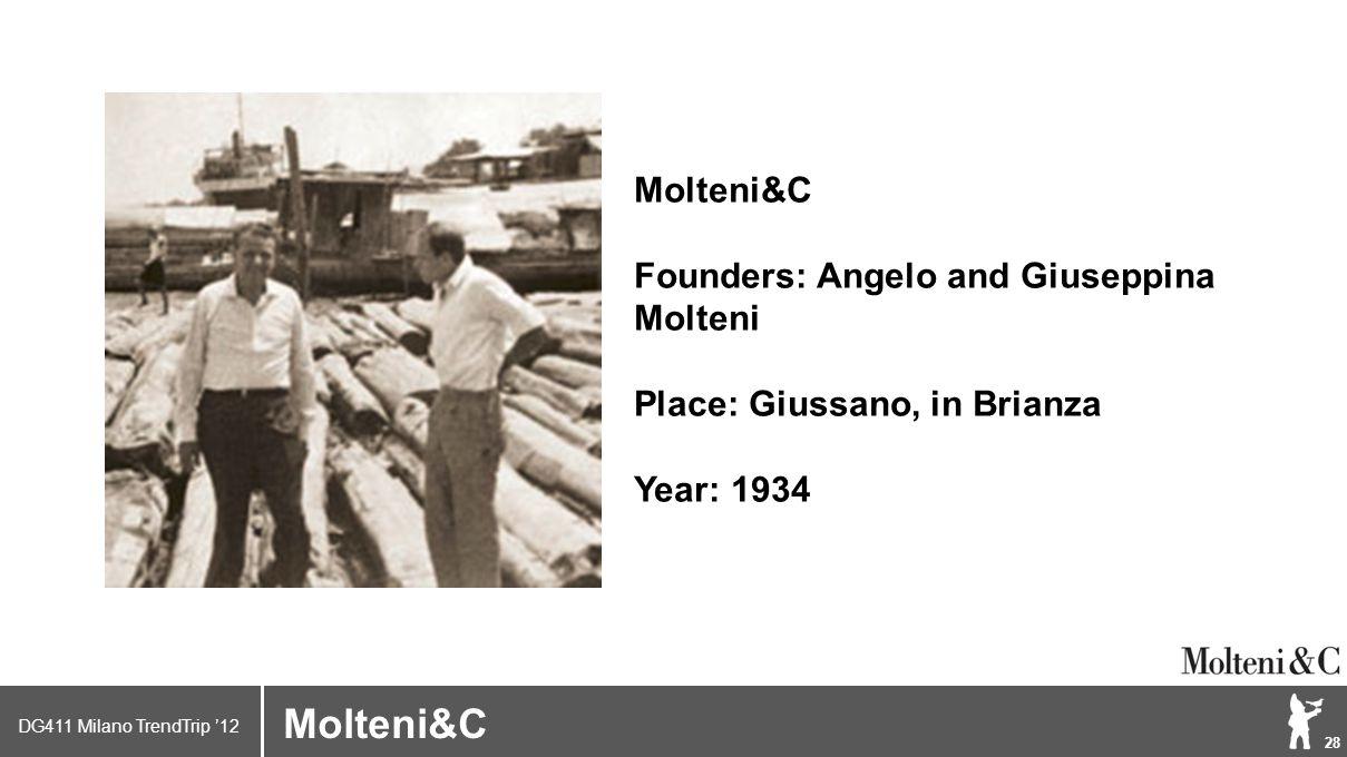 DG411 Milano TrendTrip '12 Klik om het opmaakprofiel te bewerken 28 Brand logo (name) Molteni&C Founders: Angelo and Giuseppina Molteni Place: Giussano, in Brianza Year: 1934