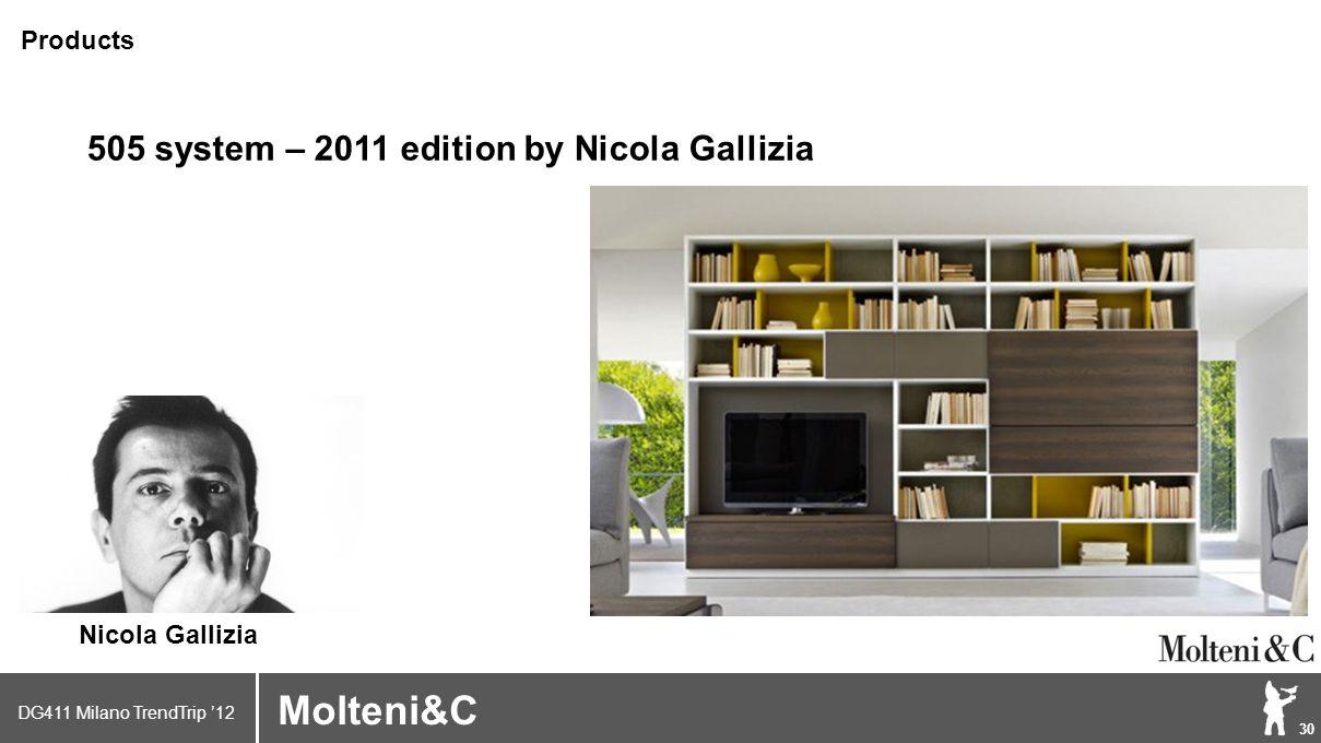 DG411 Milano TrendTrip '12 Klik om het opmaakprofiel te bewerken 30 Brand logo (name) Molteni&C 505 system – 2011 edition by Nicola Gallizia Products