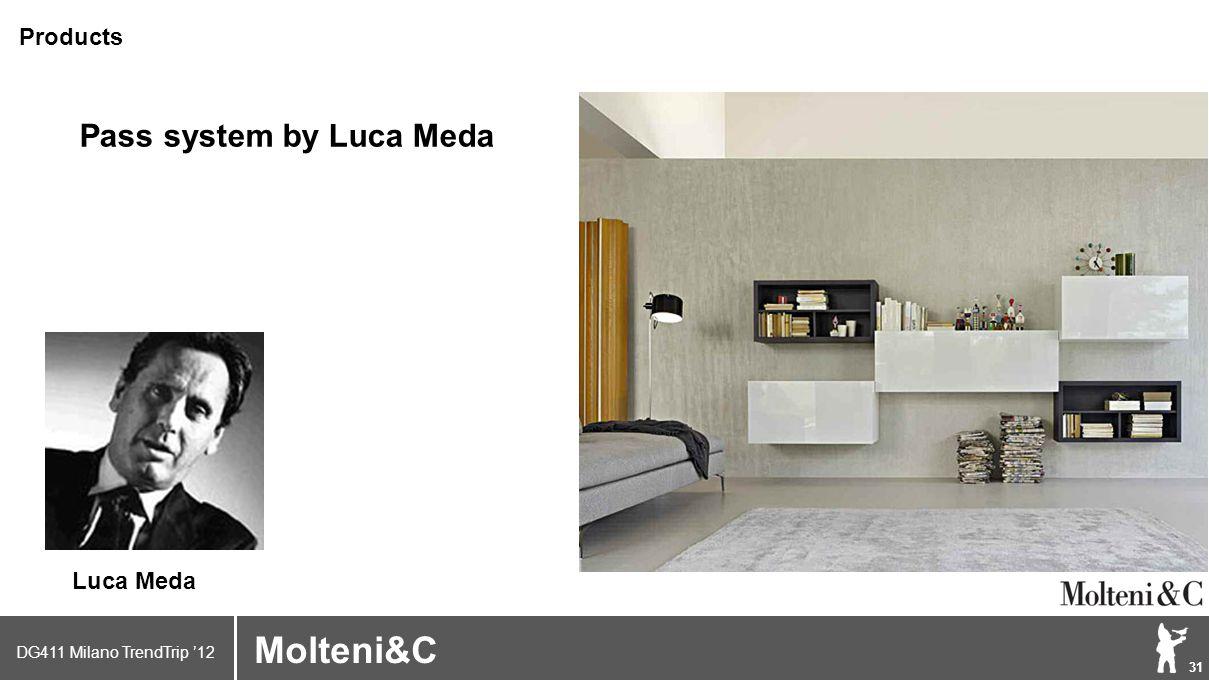 DG411 Milano TrendTrip '12 Klik om het opmaakprofiel te bewerken 31 Brand logo (name) Molteni&C Pass system by Luca Meda Products Luca Meda
