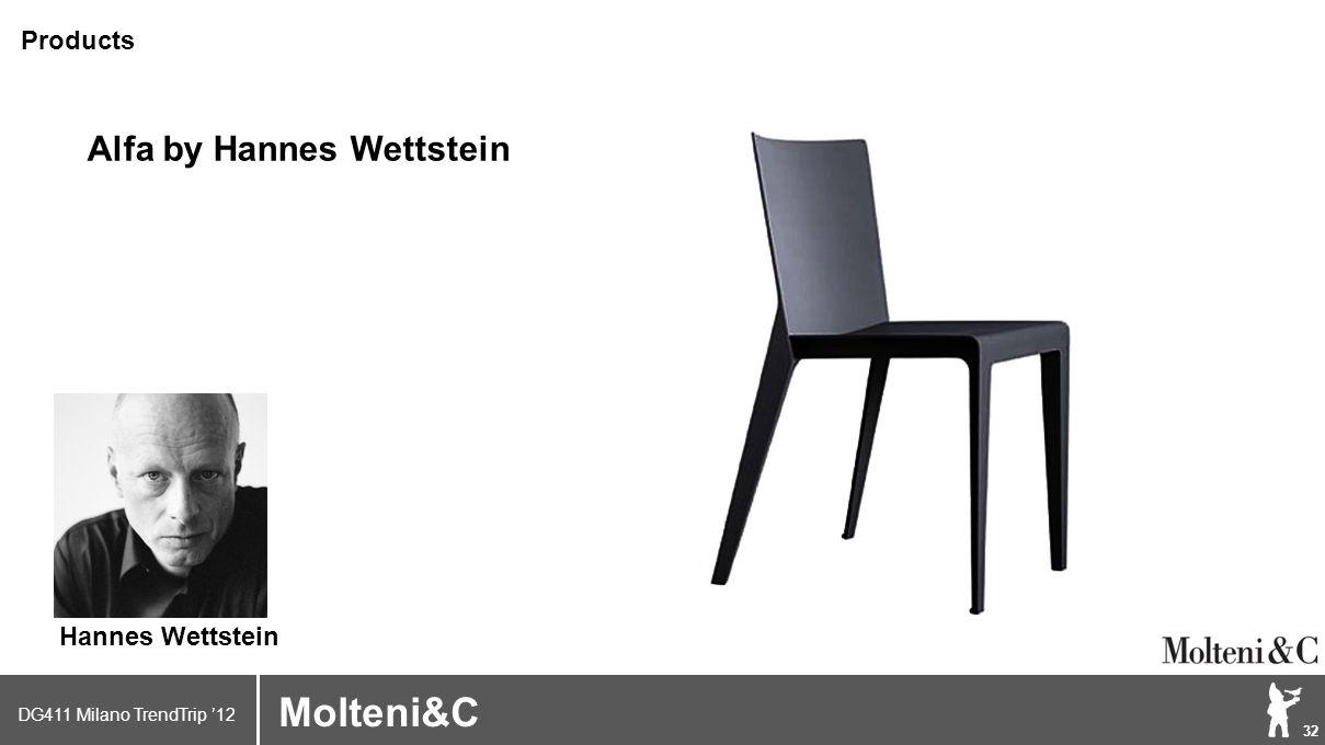 DG411 Milano TrendTrip '12 Klik om het opmaakprofiel te bewerken 32 Brand logo (name) Molteni&C Alfa by Hannes Wettstein Products Hannes Wettstein