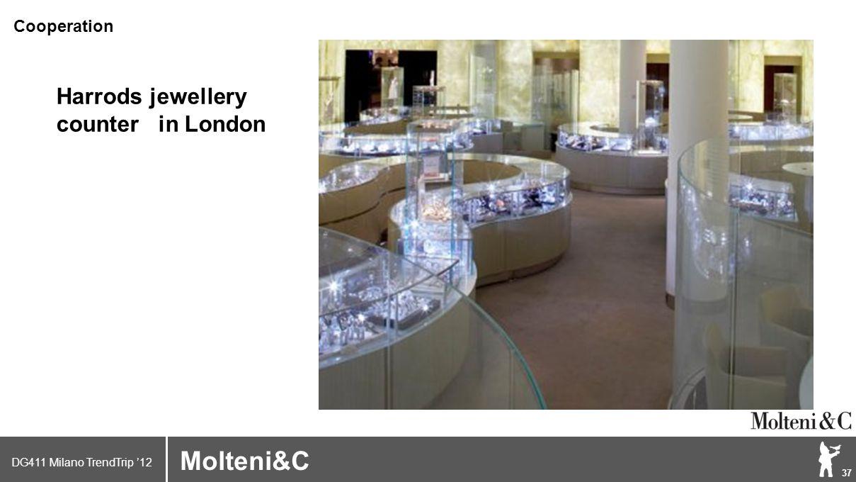 DG411 Milano TrendTrip '12 Klik om het opmaakprofiel te bewerken 37 Brand logo (name) Molteni&C Harrods jewellery counter in London Cooperation