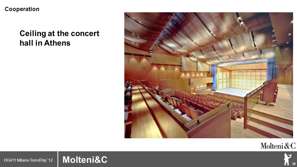 DG411 Milano TrendTrip '12 Klik om het opmaakprofiel te bewerken 39 Brand logo (name) Molteni&C Ceiling at the concert hall in Athens Cooperation
