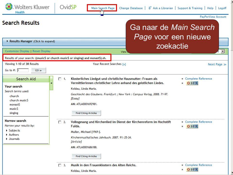 Ga naar de Main Search Page voor een nieuwe zoekactie