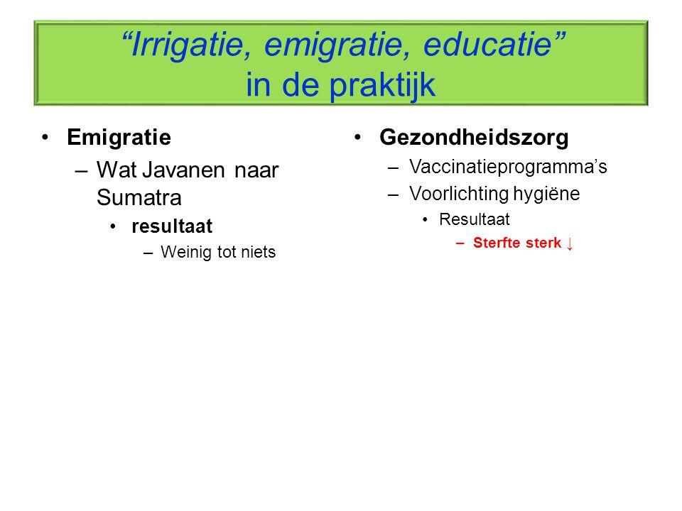 """""""Irrigatie, emigratie, educatie"""" in de praktijk Emigratie –Wat Javanen naar Sumatra resultaat –Weinig tot niets Gezondheidszorg –Vaccinatieprogramma's"""