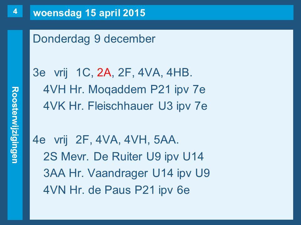 woensdag 15 april 2015 Roosterwijzigingen Donderdag 9 december 3evrij1C, 2A, 2F, 4VA, 4HB. 4VH Hr. Moqaddem P21 ipv 7e 4VK Hr. Fleischhauer U3 ipv 7e