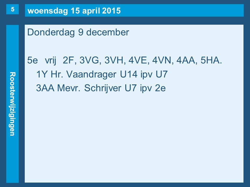 woensdag 15 april 2015 Roosterwijzigingen Donderdag 9 december 5evrij2F, 3VG, 3VH, 4VE, 4VN, 4AA, 5HA. 1Y Hr. Vaandrager U14 ipv U7 3AA Mevr. Schrijve