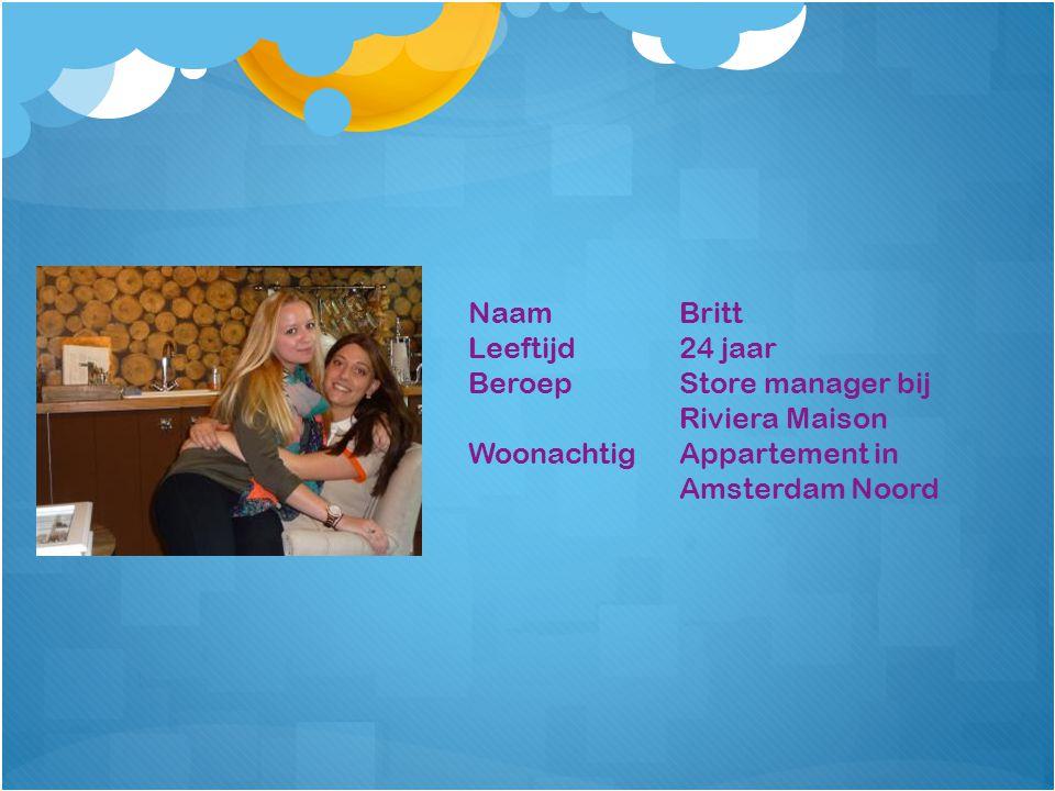 NaamBritt Leeftijd24 jaar BeroepStore manager bij Riviera Maison WoonachtigAppartement in Amsterdam Noord