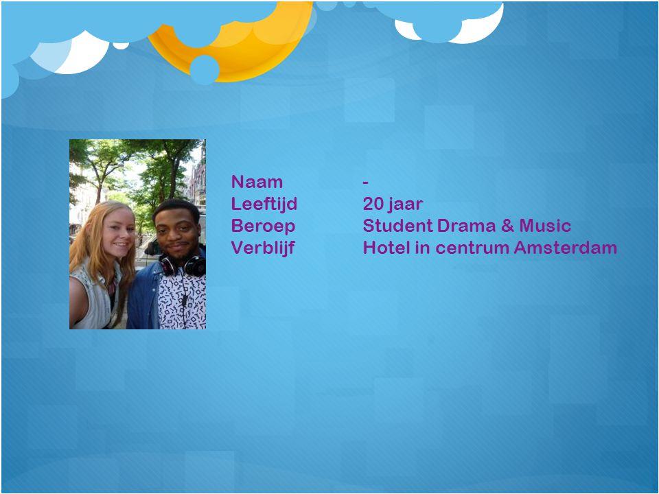 Naam- Leeftijd20 jaar BeroepStudent Drama & Music VerblijfHotel in centrum Amsterdam