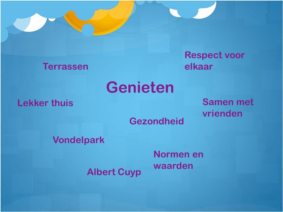 Genieten Gezondheid Respect voor elkaar Lekker thuis Samen met vrienden Terrassen Vondelpark Normen en waarden Albert Cuyp
