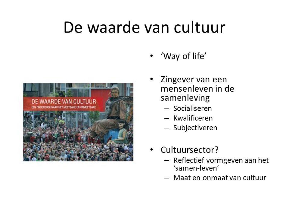 De waarde van cultuur 'Way of life' Zingever van een mensenleven in de samenleving – Socialiseren – Kwalificeren – Subjectiveren Cultuursector? – Refl
