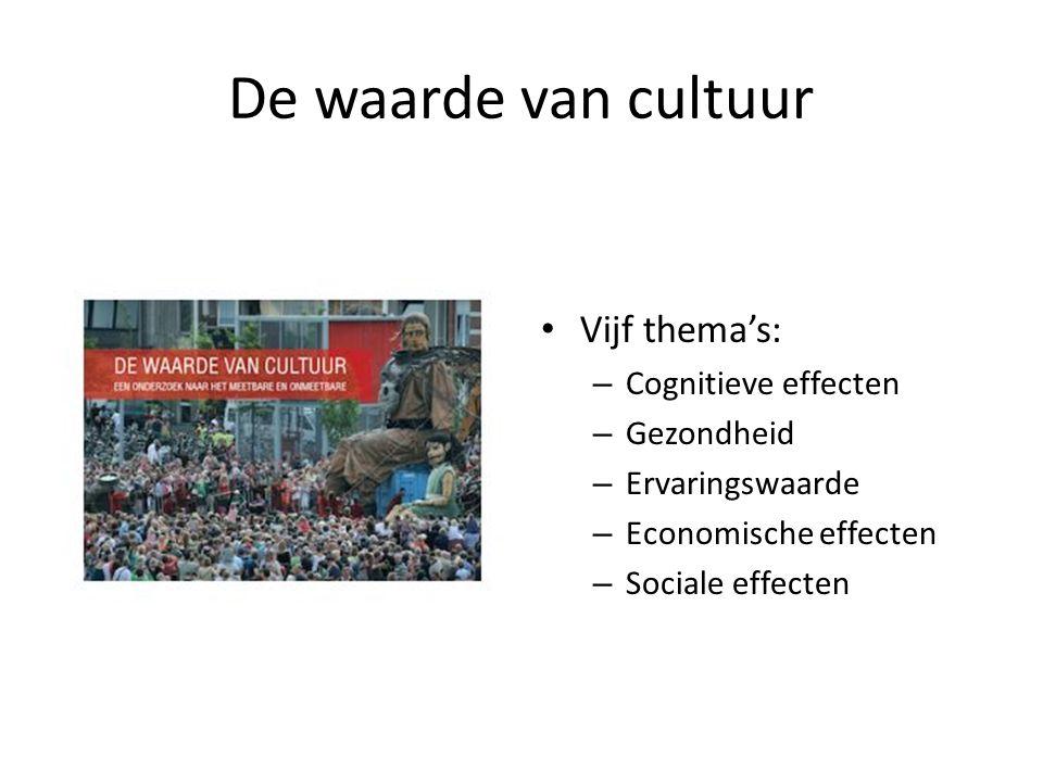 De waarde van cultuur Vijf thema's: – Cognitieve effecten – Gezondheid – Ervaringswaarde – Economische effecten – Sociale effecten
