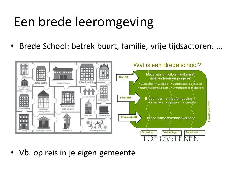 Een brede leeromgeving Brede School: betrek buurt, familie, vrije tijdsactoren, … Vb. op reis in je eigen gemeente
