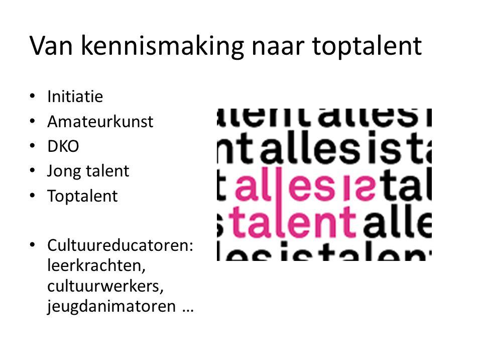Van kennismaking naar toptalent Initiatie Amateurkunst DKO Jong talent Toptalent Cultuureducatoren: leerkrachten, cultuurwerkers, jeugdanimatoren …