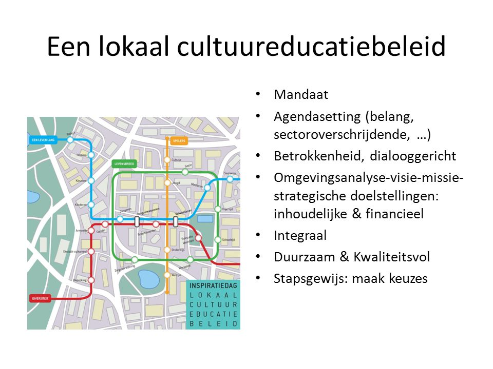 Een lokaal cultuureducatiebeleid Mandaat Agendasetting (belang, sectoroverschrijdende, …) Betrokkenheid, dialooggericht Omgevingsanalyse-visie-missie-