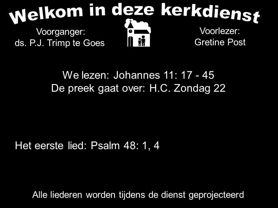 We lezen: Johannes 11: 17 - 45 De preek gaat over: H.C. Zondag 22 Alle liederen worden tijdens de dienst geprojecteerd Het eerste lied: Psalm 48: 1, 4