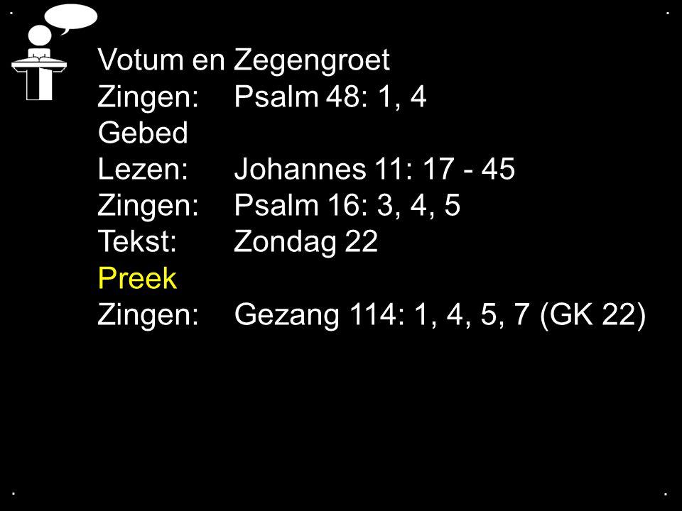 .... Votum en Zegengroet Zingen:Psalm 48: 1, 4 Gebed Lezen: Johannes 11: 17 - 45 Zingen:Psalm 16: 3, 4, 5 Tekst:Zondag 22 Preek Zingen:Gezang 114: 1,