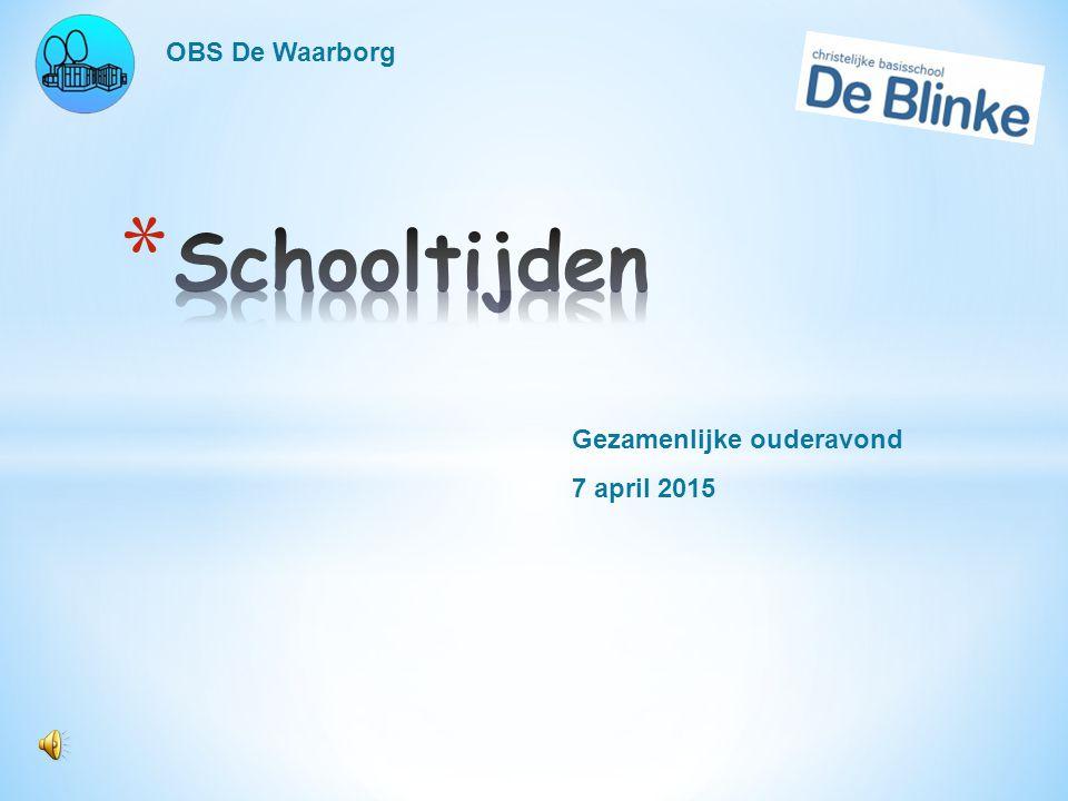 OBS De Waarborg Gezamenlijke ouderavond 7 april 2015