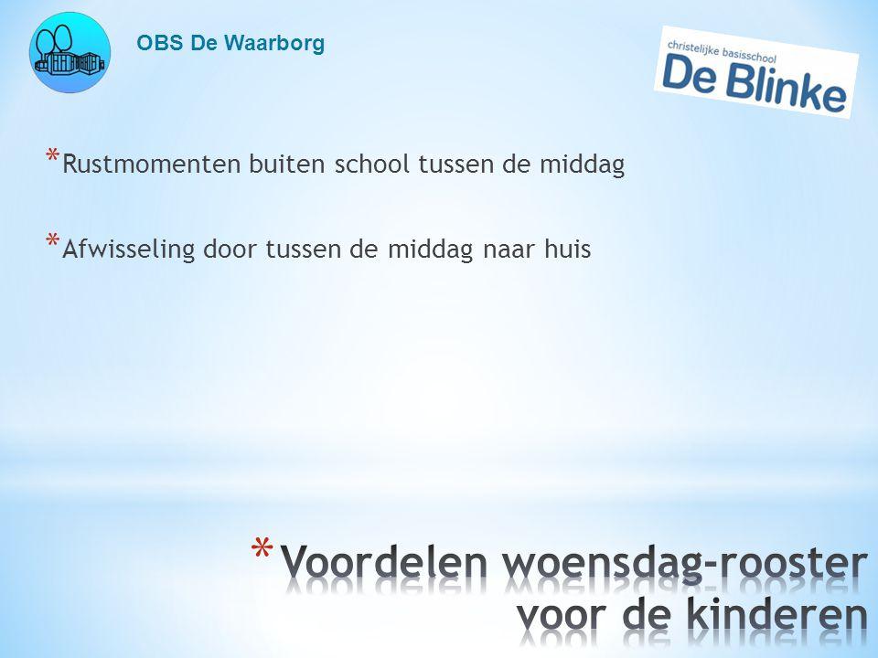 OBS De Waarborg * Rustmomenten buiten school tussen de middag * Afwisseling door tussen de middag naar huis