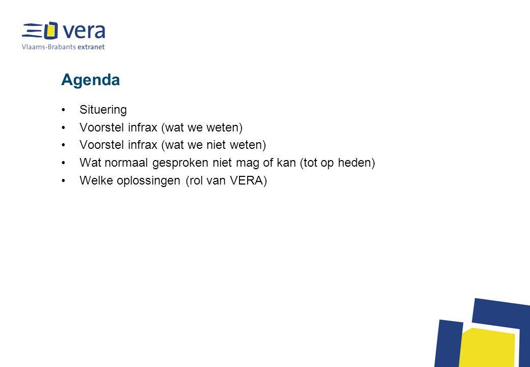 Agenda Situering Voorstel infrax (wat we weten) Voorstel infrax (wat we niet weten) Wat normaal gesproken niet mag of kan (tot op heden) Welke oplossingen (rol van VERA)