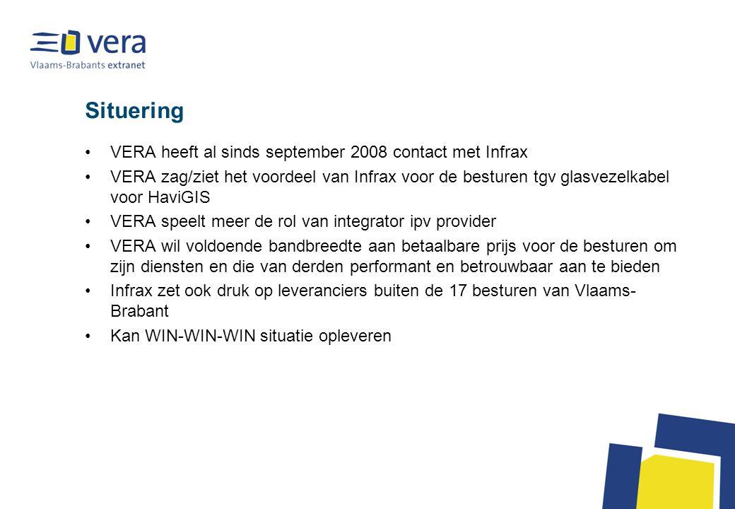 Situering VERA heeft al sinds september 2008 contact met Infrax VERA zag/ziet het voordeel van Infrax voor de besturen tgv glasvezelkabel voor HaviGIS VERA speelt meer de rol van integrator ipv provider VERA wil voldoende bandbreedte aan betaalbare prijs voor de besturen om zijn diensten en die van derden performant en betrouwbaar aan te bieden Infrax zet ook druk op leveranciers buiten de 17 besturen van Vlaams- Brabant Kan WIN-WIN-WIN situatie opleveren