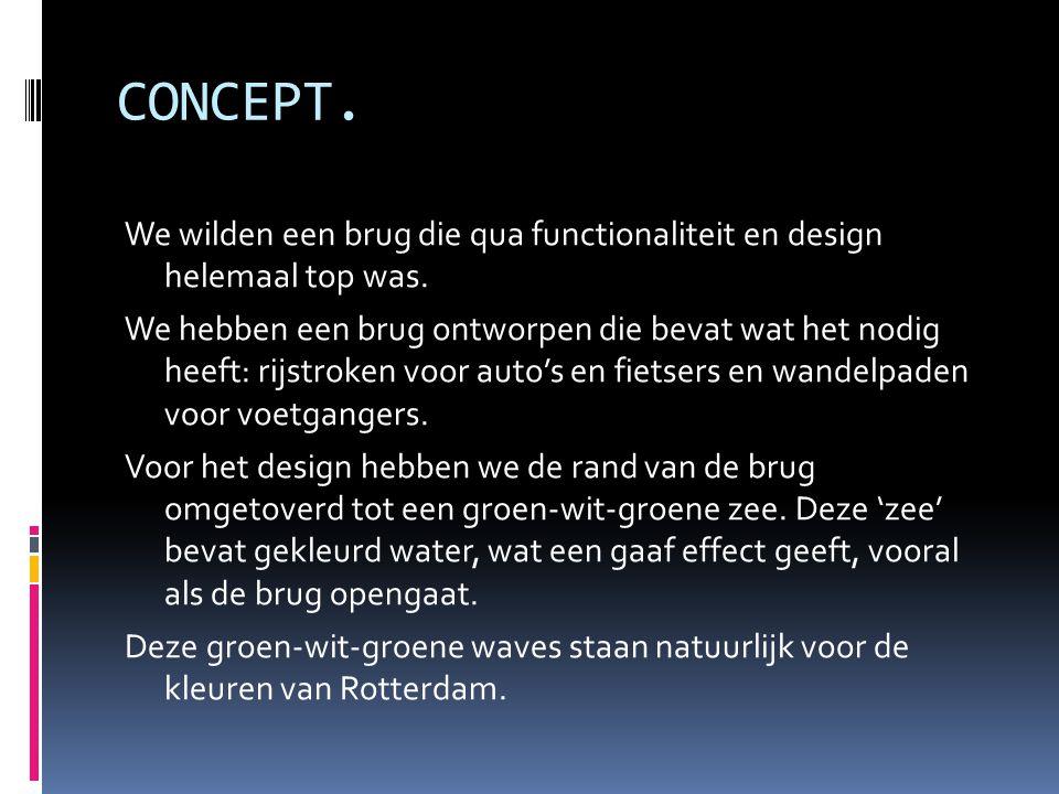 CONCEPT. We wilden een brug die qua functionaliteit en design helemaal top was.